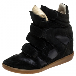 Isabel Marant Black Suede and Leather Bekett Wedge Sneakers Size 35