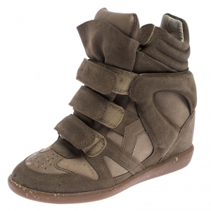 Isabel Marant Beige Suede Bekett Wedge Sneakers Size 37 - used