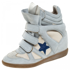 Isabel Marant Beige Canvas And Powder Blue Suede Bekett Wedge Sneakers Size 39