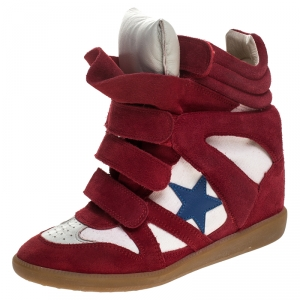 Isabel Marant Red/White Suede and Canvas Bayley Star High Top Sneakers Size 38