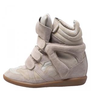Isabel Marant Grey Suede Bekett Wedge High Top Sneakers Size 38