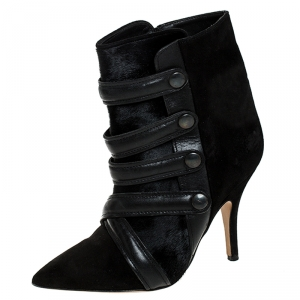 Isabel Marant Black Suede And Pony Hair Pointed Toe Ankle Boots Size 37 - used