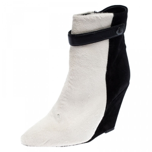 Isabel Marant Black/White Pony Hair and Suede Wedge Ankle Boots Size 38 - used