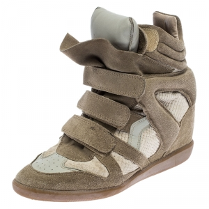 Isabel Marant Beige Suede And Leather Bekett Wedge Sneakers Size 39 - used