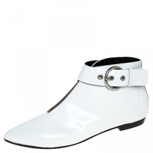 Isabel Marant White Leather Rilows Ankle Boots Size 40