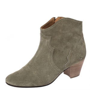 Isabel Marant Khaki Suede Dicker Ankle Boots Size 38