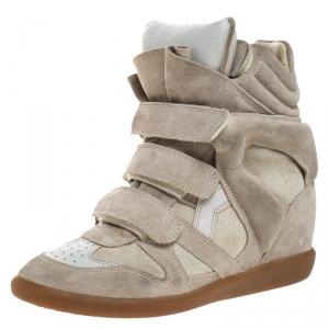 Isabel Marant Grey Suede Bekett Wedge High Top Sneakers Size 39