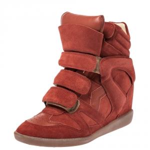 Isabel Marant Red Suede Bekett Wedge Sneakers Size 36 - used