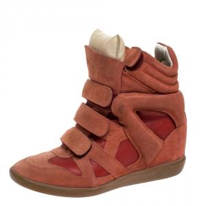 Isabel Marant Indian Red Suede Bekett Wedge Sneakers Size 39 - used