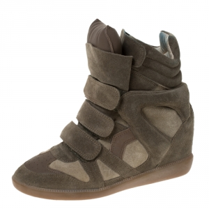 Isabel Marant Olive Green Suede And Leather Trim Bekett Wedge Sneakers Size 37 - used