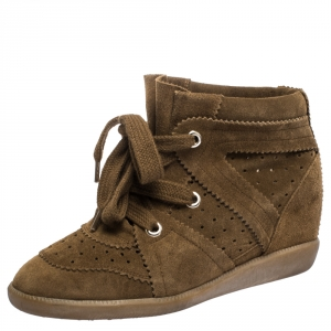 Isabel Marant Brown Suede Leather Bobby Wedge Lace Up Sneakers Size 37 - used
