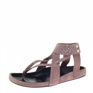 Isabel Marant Pink Suede Leather Ellan Studded Thong Flat Sandals Size 41 - used