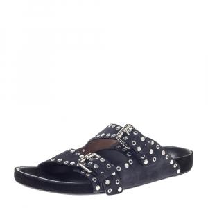 Isabel Marant Light Black Suede Leather Lennyo Slides Size 41