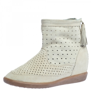 Isabel Marant Cream Perforated Suede Basley Ankle Boots Size 39 - used