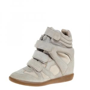 Isabel Marant Grey Suede Bekett Wedge Sneakers Size 37 - used