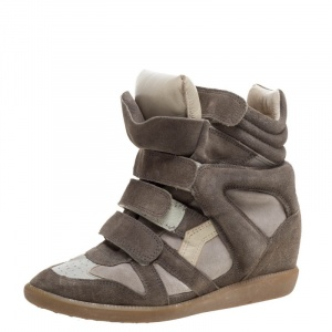 Isabel Marant Grey Suede And Leather Bekett Wedge High Top Sneakers Size 38 - used