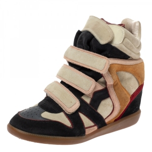 Isabel Marant Multicolor Suede Leather Bekett Wedge High Top Sneakers Size 39 - used