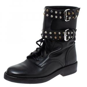 Isabel Marant Black Leather Teylon Studded Ankle Boots Size 35 - used