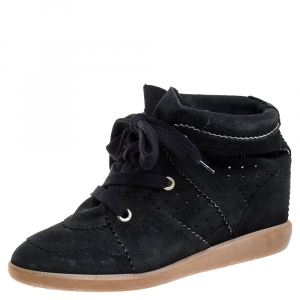 Isabel Marant Black Suede Bobby Lace Up Wedge Sneakers Size 40 - used