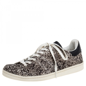 Isabel Marant Beige Leopard Print Calfhair and Leather Low Top Sneakers Size 41 - used
