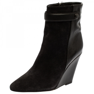 Isabel Marant Black Suede And Leather Purdey Wedge Ankle Booties Size 36
