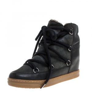 Isabel Marant Black Suede And Leather Nowels Wedge High Top Sneakers Size 38 - used