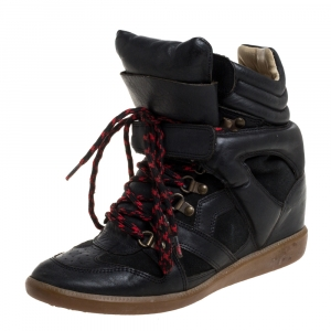 Isabel Marant Black Suede And Leather Tibetan High-Top Sneakers Size 39 - used