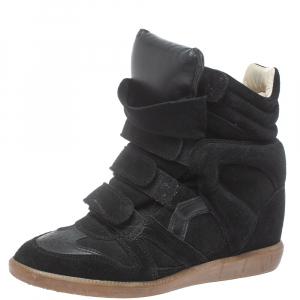 Isabel Marant Black Suede Bekett Wedge High Top Sneakers Size 39 - used