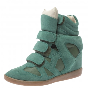 Isabel Marant Green Suede And Leather Bekett Wedge High Top Sneakers Size 37 - used
