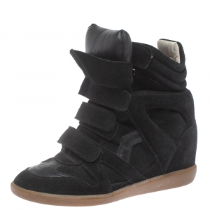 Isabel Marant Dark Green Suede And Leather Bekett Wedge Sneakers Size