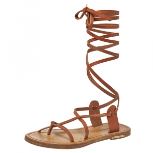 Isabel Marant Tan Leather Amy Lace-Up Flat Sandals Size 35 - used