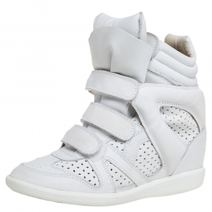 Isabel Marant White Leather Bekett Wedge High Top Sneakers Size 39 - used