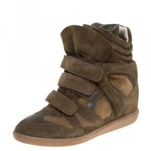 Isabel Marant Green Suede Bekett Wedge Sneakers Size 40 - used