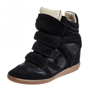 Isabel Marant Black Suede And Leather High Top Wedge Sneakers Size 39 - used