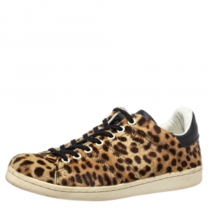 Isabel Marant Brown/Black Leopard Print Pony Hair And Leather Sneakers Size 36 - used