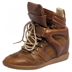 Isabel Marant Brown Suede And Leather Bekett Wedge High Top Sneakers Size 39 - used
