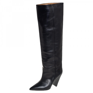 Isabel Marant Black Leather Knee Length Boots Size 38
