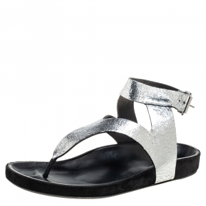Isabel Marant Silver Leather Flat Ankle Strap Sandals Size 41 - used