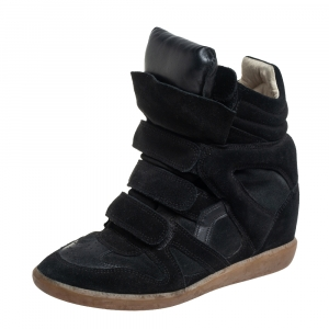 Isabel Marant Black Suede Leather Bekett Wedge High Top Sneakers Size 38 - used
