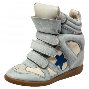 Isabel Marant Blue/Cream Suede And Canvas Bekett Sneakers Size 37 - used