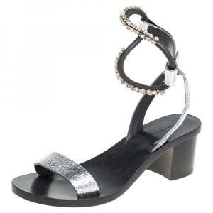 Isabel Marant Silver Crackle Leather Crystal Embellished Ankle Strap Sandals Size 37 - used