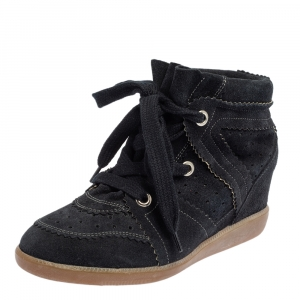 Isabel Marant Black Perforated Suede Etoile Wedge Sneakers Size 37 - used