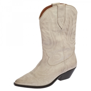 Isabel Marant Cream Duerto Embroidered Leather Boots Size 39 - used