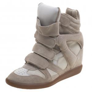 Isabel Marant Beige Suede Bekett Wedge Sneakers Size 38