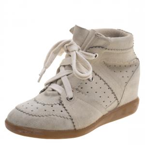 Isabel Marant Beige Perforated Suede Etoile Wedge Sneakers Size 37