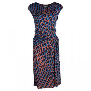 Issa Multicolour Printed Draped Sunset Jersey Dress L