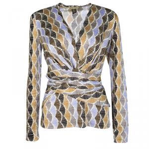 Issa Multicolor Printed Tie Waist Detail Long Sleeve Top L