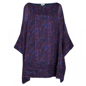 Issa Purple Printed Silk Frayed Trim Detail Oversized Tunic S