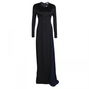 Issa Black Contrast Plisse Panel Detail Vanka Heavy Double Georgette Maxi Dress M used