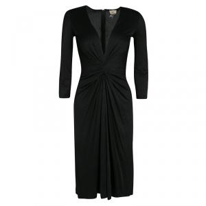 Issa Black Gathered Waist Long Sleeve Silk Jersey Dress S - used